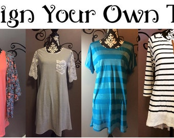Ladies - Design Your Own Top - tunic, raglan, dolman, three quarter, jersey, knit, lace, leather