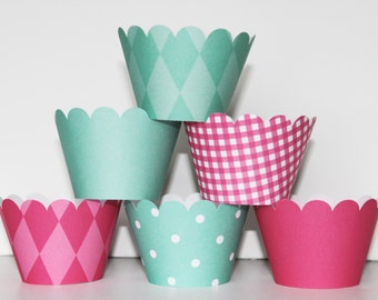 Spa, hot pink, Teal, Cupcake Wrappers, cupcake liner, wedding, bridal shower, baby shower, birthday party, girls first birthday, spa party
