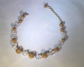 Ornate Vintage Choker with Filigree  and Aurora Borealis Beads