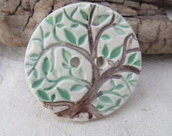 Dark Brown Green Tree Texture Ceramic Button
