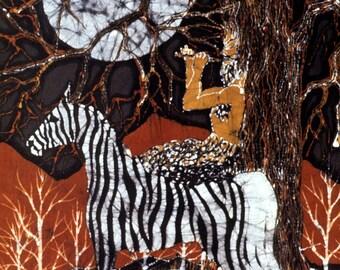 Pan Calls the Moon from the Zebra's Back -  batik fabric swatches from original batik - mythology