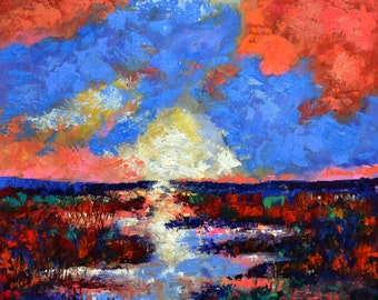 "Large Original Abstract Marsh Landscape Oil Painting- ""Lowcountry Morning""- by Claire McElveen"