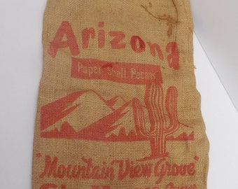 Vintage Burlap Bag Printed Red Graphics Saguaro Cactus Arizona Pecans Craft supply