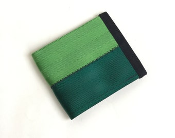 Velcro wallet - two tone green vegan seat belt wallet