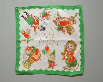 Vintage Circus Handkerchief - Hankie Hanky Hankercheif Collectible Souvenir Under The Big Top Elephant Horse Monkey Wall Hanging Ringmaster