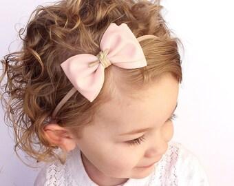 Baby Headband - Baby Bow Headband - 4th of July Bow - July 4th Baby Bow - Nylon Headbands- Blue Bow Clip - Blue Stars Fabric Patriotic Bow