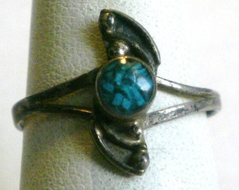 Vintage Sterling Silver Turquoise Ring-Size 6 3/4