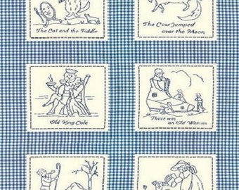 15 Blocks Stitch n Time Mother Goose NURSERY RHYMES Gingham Baby Blue Fabric Red Rooster Nursery Child Children Bedtime Story Poems
