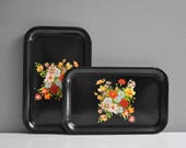 Pair of Vintage Floral Serving Trays - All Purpose Metal Tray
