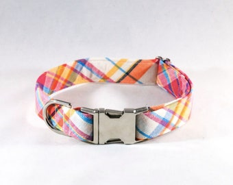 Preppy Pink and Orange Madras Dog Collar
