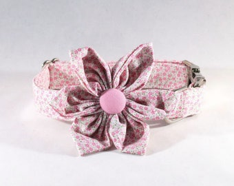 Pink Posy Floral Girl Dog Flower Bow Tie Collar