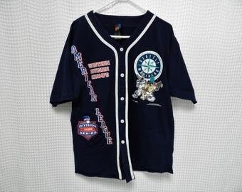 vintage Seattle Mariners Jersey TAZ Bugs Bunny 90s hip hop 1995 Division Champs L/XL shirt Griffey Edgar rare Warner Bros all over print