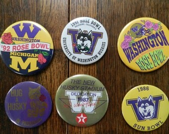 vintage Washington Huskies Pins Football bowl games 80s 90s Rose Bowl Sun Bowl Husky Stadium 1987 1992 1991 1986 collectible NCAA sports