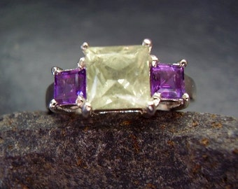 Joker - Genuine Green Grossular Garnet & Amethyst Ring, 925 Sterling Silver, January-February Birthstone, Festival PLUR, Gifts For Her, OOAK