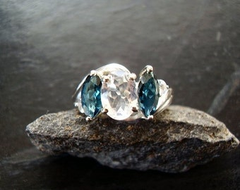 CLEARANCE! Genuine Moonstone Faceted Oval & London Blue Topaz Marquise Ring, 925 Sterling Silver Ring, Unique Right Hand Cocktail Ring, OOAK