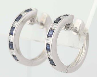 Sapphire & Diamond Hoop Earrings - 18k White Gold Pierced .94ctw N8329