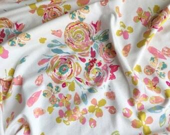 Watercolor Floral Swaddling Blanket / Receiving Blanket, Baby Girl Gift, Nursing Cover, Knit Swaddle, Swaddle Blanket, Baby Blanket