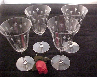 Antique Signed Cut Glass Goblets (4), Early 1900s Washington Cut Glass Co., Elegant Crystal Glassware Stems w/ Cutting, Vintage Wine Glasses