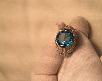 Vintage Handmade deep blue Iolite setting 925 Sterling Silver gothic Ring