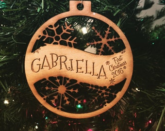 Gabriella - Customizable Baby's First Christmas Ornament - Engraved Birch Wood Ornament
