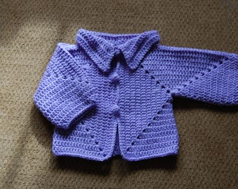 Crochet Newborn Sweater in lavender (size newborn)