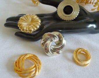 5 Vintage Scarf Pins Goldtone Silvertone Scarf Holder Lot