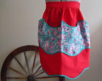 Apron Vintage Aprons Half Apron Red 1960's