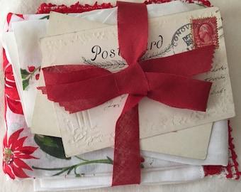 SALE Precious Vintage antique lot Christmas apron 2 red Crochet edged Hankies 2 Christmas penny postcards 1900s