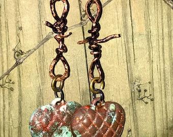 Shabby shiek puffy heart Rustic dangle earrings . custom Gothic copper thorn wire . Rustic earrings. The Baroque Princess jewelry.