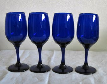 4 Vintage Libbey Rock Sharpe Cobalt Blue Wine Glasses Tulip Shape