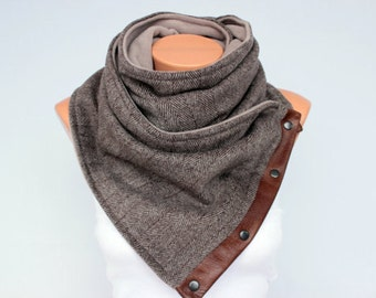 Mens scarf neckwarmer unisex winter wool chunky infinity scarf with snaps on GENUINE LEATHER-