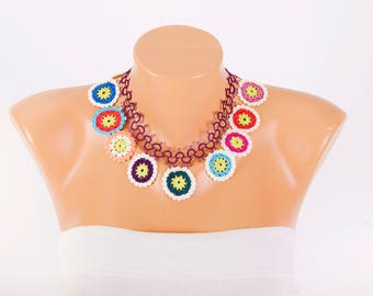 Crochet oya necklace bip necklace