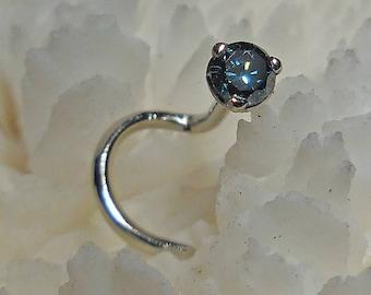 BLUE DIAMOND, 14K, 2.5mm, diamond, diamond nose jewelry, nose stud, diamond nose stud, nose ring, colored diamond, candy color diamond