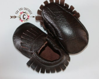 WOW! Dark Brown Fringes  Moccasins 100% genuine leather baby moccasins Mocs moccs