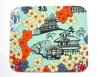 Mouse Pad - Japanese blossom trees and Pagoda mousepad - Hot pad - Home office