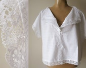 RESERVED*** unworn vintage white cotton shirt with crochet lace size XL boxy short sleeved blouse homemade  short top