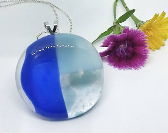Blue Glass Pendant with Silver Chain