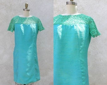 Vintage Silk Mod 60s Dress, Short Aqua Blue Green Shift, Union Made in the USA, Free shipping