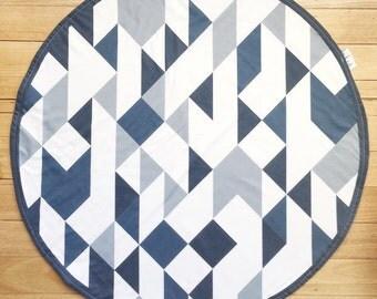 Ready to post - Roundie Play Mat - Handmade - Denim Blues Geometric Roundie - Tummy time - Baby Boy - Nursery Decor - Bespoke