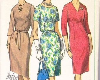 CLEARANCE Simplicity 6281 Women's Mad Men Pullover Wiggle Sheath Dress Vintage Sewing Pattern Bust 41""