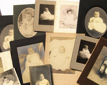 Vintage Photos, Antique Photos of Babies, Baby Photos, Victorian Cabinet Cards, 14 Vintage Photographs