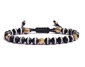 Men's beaded bracelet - Father's Day Gift - Black and white Tibetan agate beads with raw brass spacers - Bracelets for Men - Jewelry for Men