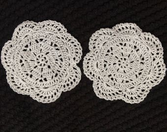 Hand crocheted coaster set of 2