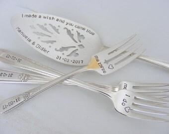 I Do Me Too Me Three Wedding Cake Server And Forks Set