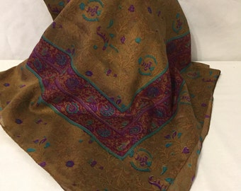 Beautiful Floral Scarf Made In Italy