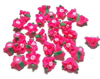 20 Fimo Polymer Clay Fimo Hot Pink Fuschia Flowers Rose Beads 15mm