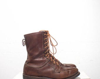 SALE 8 D | Vintage Work Boots Men's Moccasin Toe Lace Up Boots Glove Leather