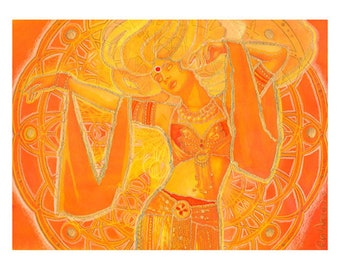 Belly Dance Art in fire colors of orange and yellow