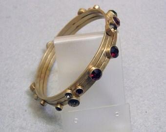 Stunning Modern Rhinestone Bracelet, Brass Multicolored Stones