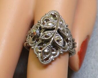 Marcasite Fancy Ring, Adjustable